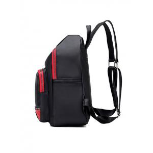 Colour Block Leaf Pattern Nylon Backpack -
