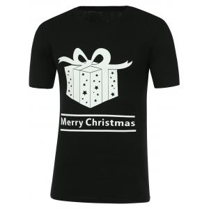 Gift Box Print Round Neck Merry Christmas T-Shirt