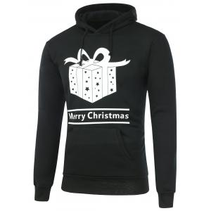 Gift Box Print Pocket Christmas Hoodie
