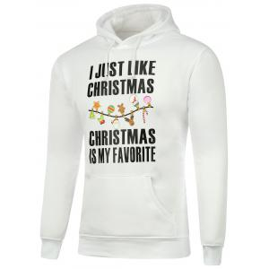 Graphic Print Pocket Drawstring Christmas Hoodie