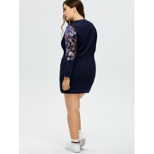 Plus Size Printed Mini Sweatshirt Dress - DEEP BLUE 5XL