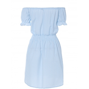 Casual Off Shoulder Striped A Line Dress - LIGHT BLUE L
