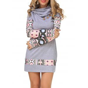 Long Sleeve Geometry Mini Sheath Dress -