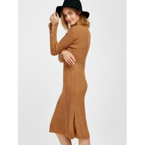 Long Sleeve Slit Midi Bodycon Jumper Dress -