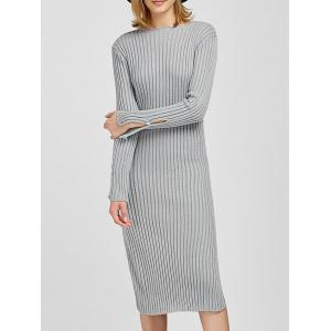 Long Sleeve Slit Midi Bodycon Jumper Dress - Gray - One Size