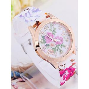 Floral Printed Dial Plate Silicone Watch - WHITE
