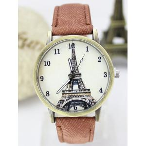 Eiffel Tower Artificial Leather Watch - Brown