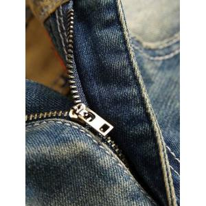 Distressed Zip Fly Straight Leg Embroidery Jeans -