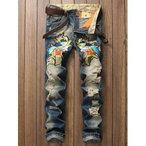 Distressed Zip Fly Straight Leg Embroidery Jeans