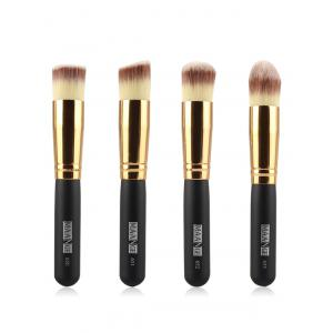 4 Pcs Foundation Makeup Brushes Set - Black