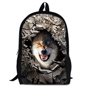 3D Rubble Animal Print Backpack - White