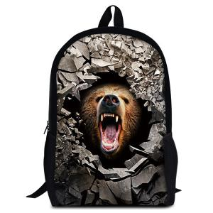 3D Rubble Animal Print Backpack - Light Brown