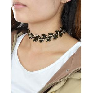Leaf Rivet Choker Necklace - BLACK