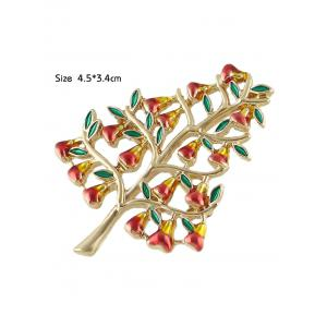 Alloy Tree Faux Gem Brooch - GOLDEN