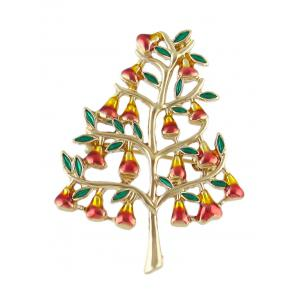 Alloy Tree Faux Gem Brooch