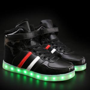 High Top Flocking Led Luminous Shoes - Black - 44