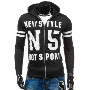 Long Sleeve Letter Print Zip Up Hoodie