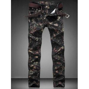Zip Fly Straight Leg Printed Jeans