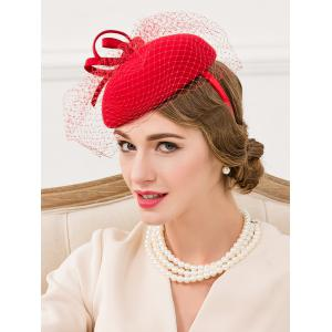 Mesh Yarn Embellished Bowknot Cocktail Hat - BRIGHT RED