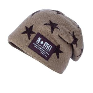 Five Pointed Star Letter Patch Knit Ski Hat -
