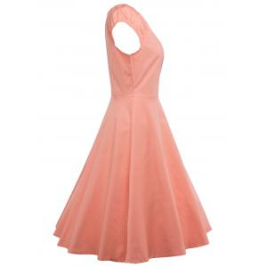 A Line Puffer Cap Sleep Prom Dress - ORANGEPINK 2XL