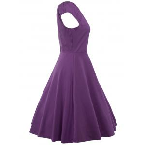 A Line Puffer Cap Sleep Prom Dress - PURPLE 2XL