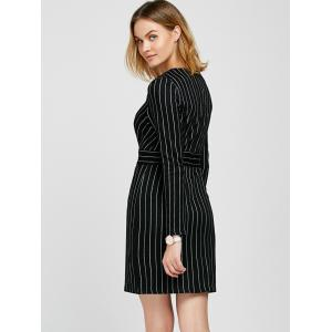V Neck Long Sleeve Striped Bodycon Dress -