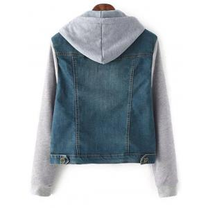 String Buttoned Denim Spliced Jacket with Hood - BLUE L