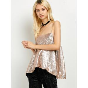 Cami Sequined Loose Tank Top - GOLDEN M