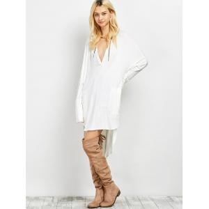 Plunge Long Sleeve High Low Casual Dress -
