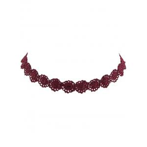 Lace Floral Hollow Out Necklace - WINE RED