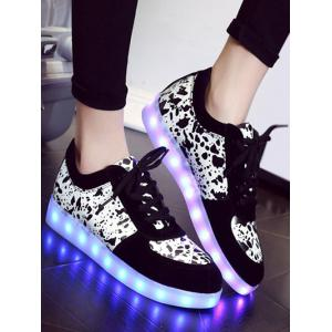 Trendy Lighted and Print Design Sneakers For Women -