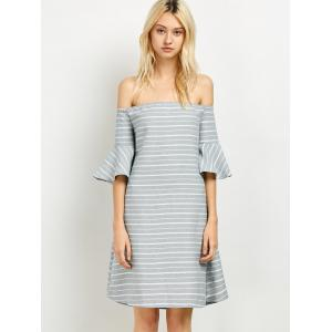 Cut Out Back Off The Shoulder Dress - GREY/WHITE 2XL