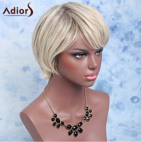 Best Adiors Color Mixed Synthetic Short Inclined Bang Straight Wig - COLORMIX  Mobile