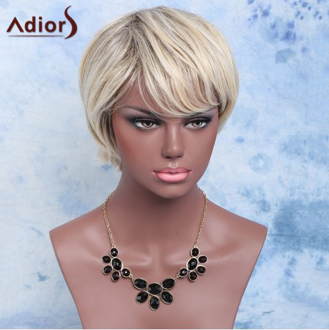 Hot Adiors Color Mixed Synthetic Short Inclined Bang Straight Wig COLORMIX