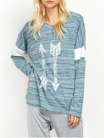 Hot V Neck Space Dyed Arrow Pattern T-Shirt