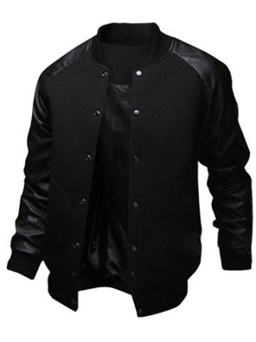 Hot Snap Button Up PU Leather Insert Raglan Sleeve Jacket - L BLACK Mobile