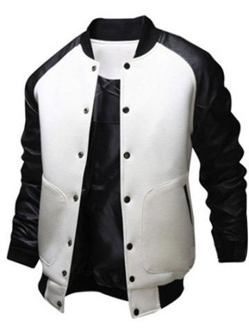 New Snap Button Up PU Leather Insert Raglan Sleeve Jacket WHITE 2XL