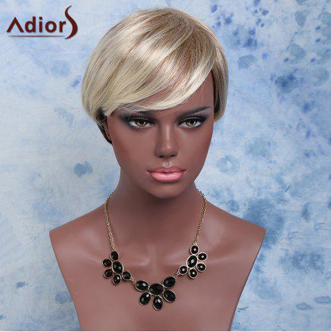 Hot Adiors Inclined Bang Natural Straight Synthetic Short Mixed Color Wig