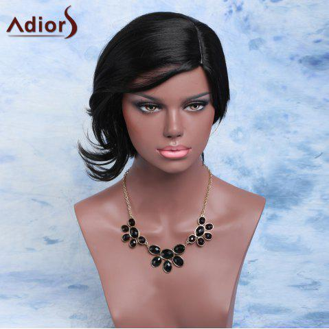 Sale Adiors Short Fluffy Slightly Curled Side Parting Synthetic Wig BLACK