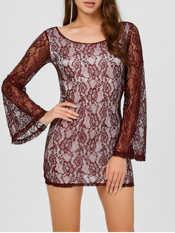 Sale Backless Mini Lace Long Sleeve Dress WINE RED XL