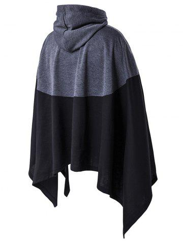 Sale Irregular Cutting Hooded Color Block Splicing Cloak Style Hoodie BLACK M
