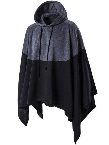 Chic Irregular Cutting Hooded Color Block Splicing Cloak Style Hoodie - M BLACK Mobile