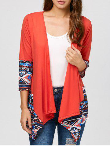 Outfits Drape Open Front Geometrical Cardigan RED XL