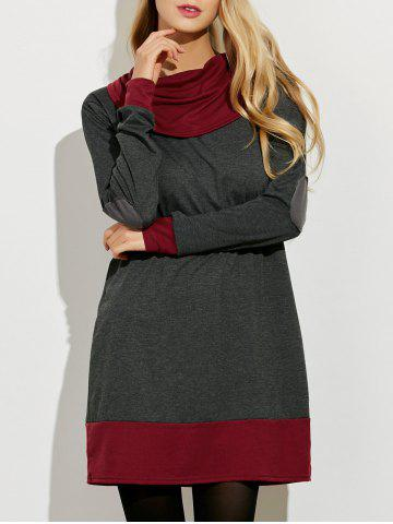 Shops Cowl Neck Color Block Mini Dress GRAY AND RED L