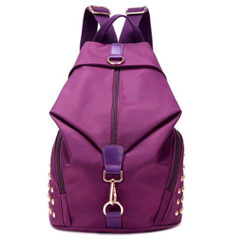 Trendy Studded Nylon Casual Backpack PURPLE