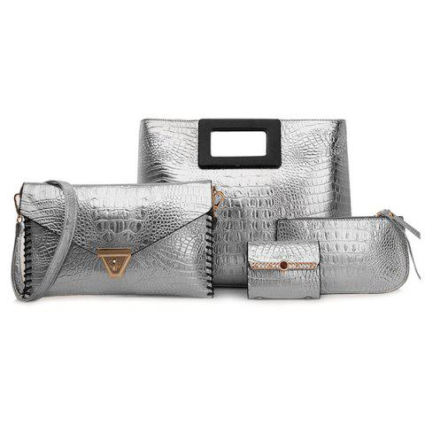 Stitching PU Leather Crocodile Embossed Handbag Set - Silver