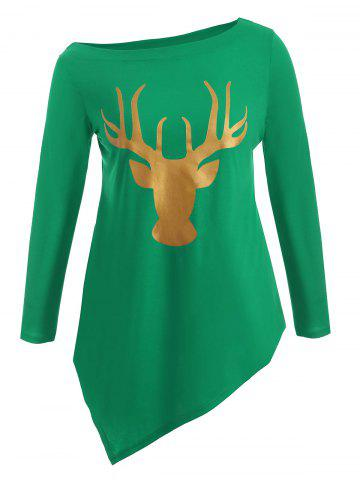Plus Size Christmas Deer Print Asymmetric T-Shirt - Green - Xl