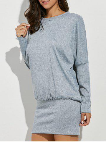 Affordable Long Sleeve Drop Shoulder Mini Casual Dress Fall