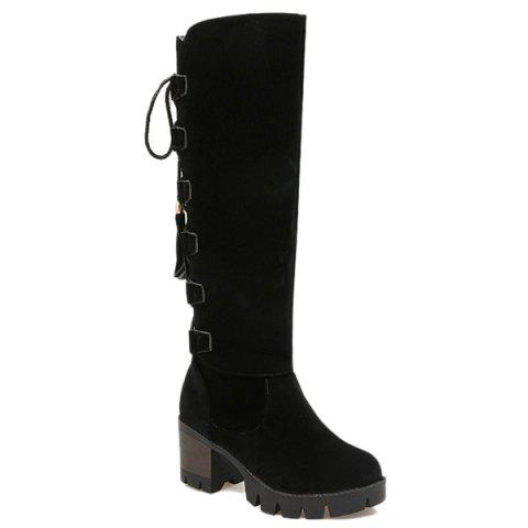 Unique Tie Up Tassels Platform Knee High Boots